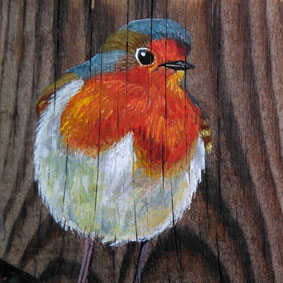 petirrojo pintura Erithacus rubecula